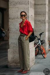 lefashion,top,shirt,pants,shoes,red shirt,red heels