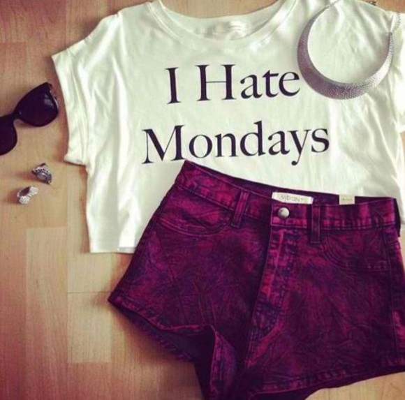 lovely girly t-shirt casual girl jeans hate nice monday hate mondays trousers