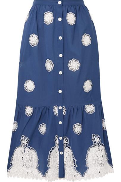 Miguelina skirt midi skirt midi cotton blue