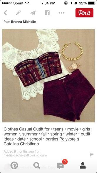top maroon summer shorts lace bandeau