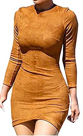 Womens Ronud Neck Long Sleeve Suede Sexy Bodycon Dress at Amazon Women's Clothing store: