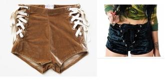 shorts lace up velvet corset high waisted shorts high waisted boho gipsy