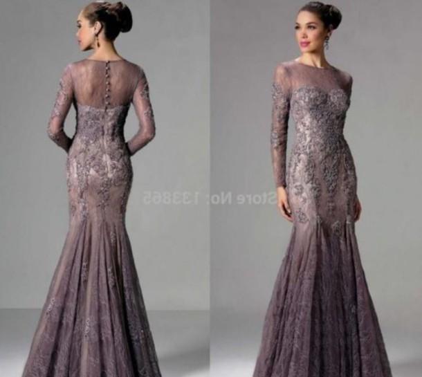 dress, mauve, prom, prom dress, gown, formal dress, wedding, lace ...