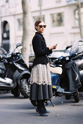 vanessa jackman blogger grey skirt lace skirt