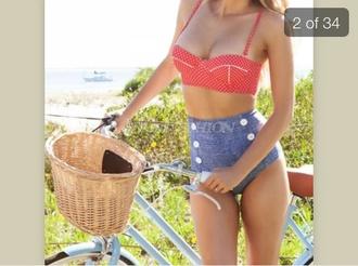 swimwear retro cute vintage red shorts polka dot bikini polka dots