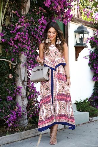 dress tumblr maxi dress printed dress bag handbag sandals sandal heels high heel sandals earrings accent earrings shoes jewels