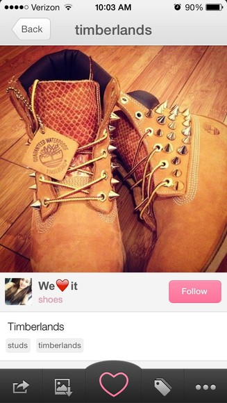 brown shoes boots timberlands tims spikes studs women's rare