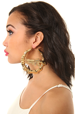Melody Ehsani x Jeremy Scott Earrings Large Bamboo in Gold -  Karmaloop.com