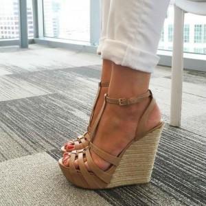 Khaki Wedge Sandals T Strap Peep Toe Platform Shoes