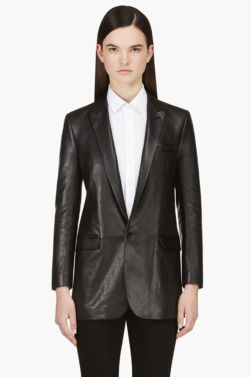 saint laurent black lambskin blazer
