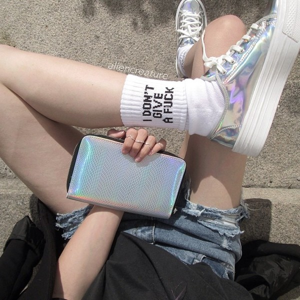 shoes silver shoes shiny shoes fuck off fuck off socks socks bag flatforms soft grunge holographic