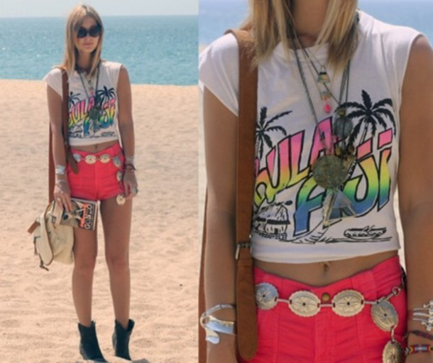 shirt t-shirt neon color/pattern beach white crop tops shorts summer spring