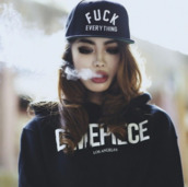 hat,fuck everything,snapback,sweater,hoodie,jacket,cardigan,black hoodie,dimpiecel,black,white,jumper,warm hoodie,snap back hat,fuck off,black and white,style,dimepiece,writing,shirt