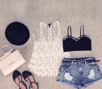 shorts top bag tank top shoes crop tops black sandals hat gold white lace diamonds jewlrey handbag necklace sexy summer outfits blouse transparent flowers blanc bra nice cute beautifull crop-top