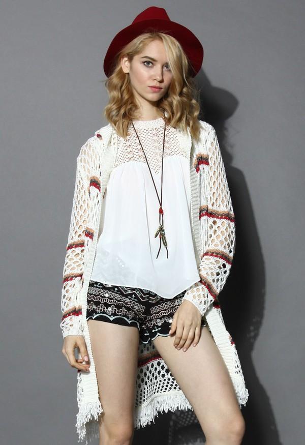 cardigan chicwish boho fringe hooded knitted cardigan