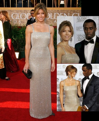 dress long straps p diddy diddy puff daddy golden globes 2007 floor length dress diamonds jessica biel