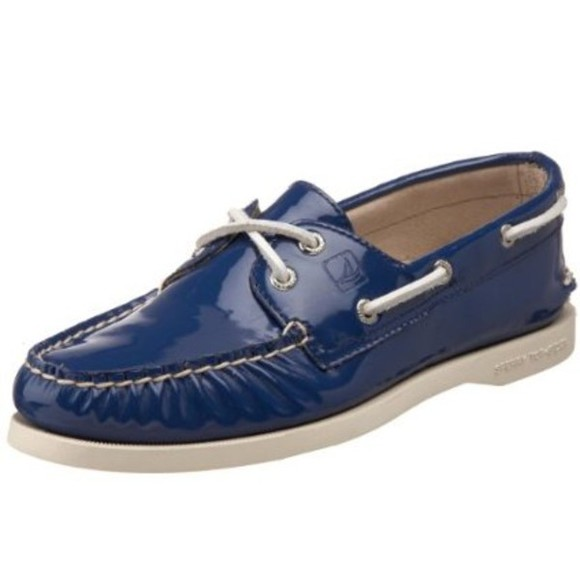 shiny shoes shoes topsiders blue patent