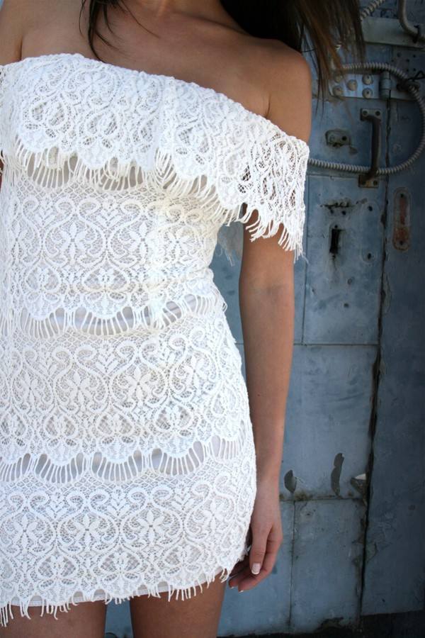 white white dress white lace dress white lace lace dress lace tight bodycon dress short short dress hot beautiful cute dress off the shoulder off the shoulder dress strapless bodycon dress birthday dress white short dress dress sexy sexy party dresses sexy dress pattern