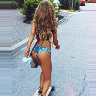 swimwear aspen mansfield slutfactory bikini bikini bottoms galaxy print tropical skater style wavy hair tropical swimwear