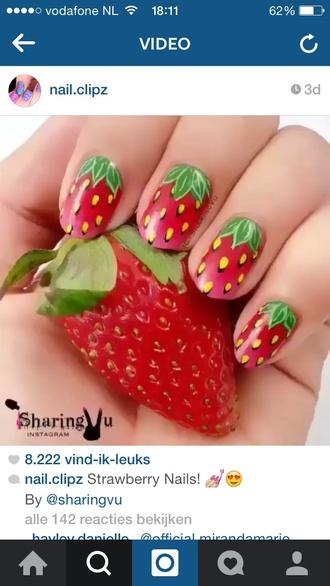 nail accessories nail strawberry strawberries red nail art nail polish