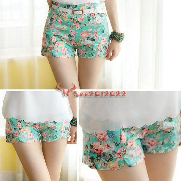 Women's Blooming Flowers Floral Print High Elastic Waist Shorts Mini Short Pants | eBay