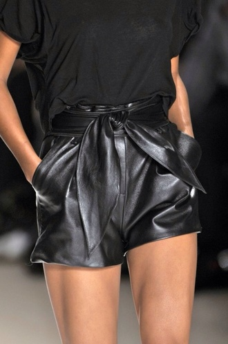 shorts leather shorts tied belt
