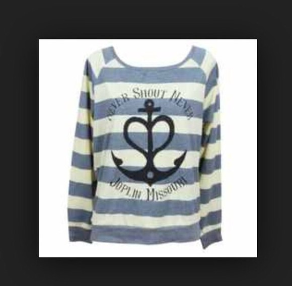 anchor shirt baby blue and white nevershoutnever christofer drew stripes