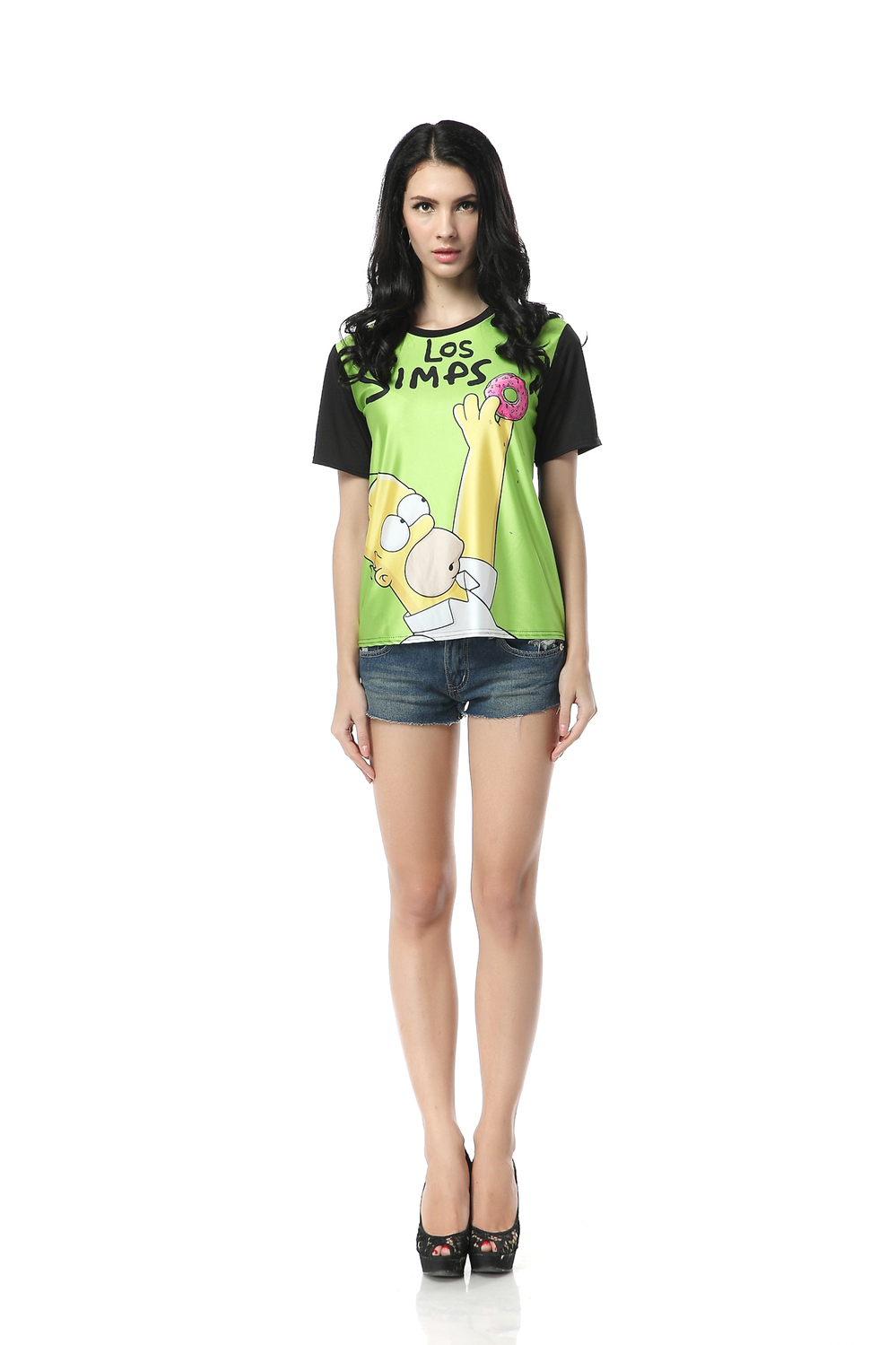 Women 2013 Korean Character Humor Simpsons T shirt  Black O neck Digital Tie dyed Short sleeved Clothes Wholesale FREE SHIPPING-in T-Shirts from Apparel & Accessories on Aliexpress.com