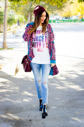 shoes and basics blogger cardigan t-shirt jeans bag shoes hat