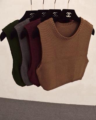 crochet sweater burgundy beige sleeveless