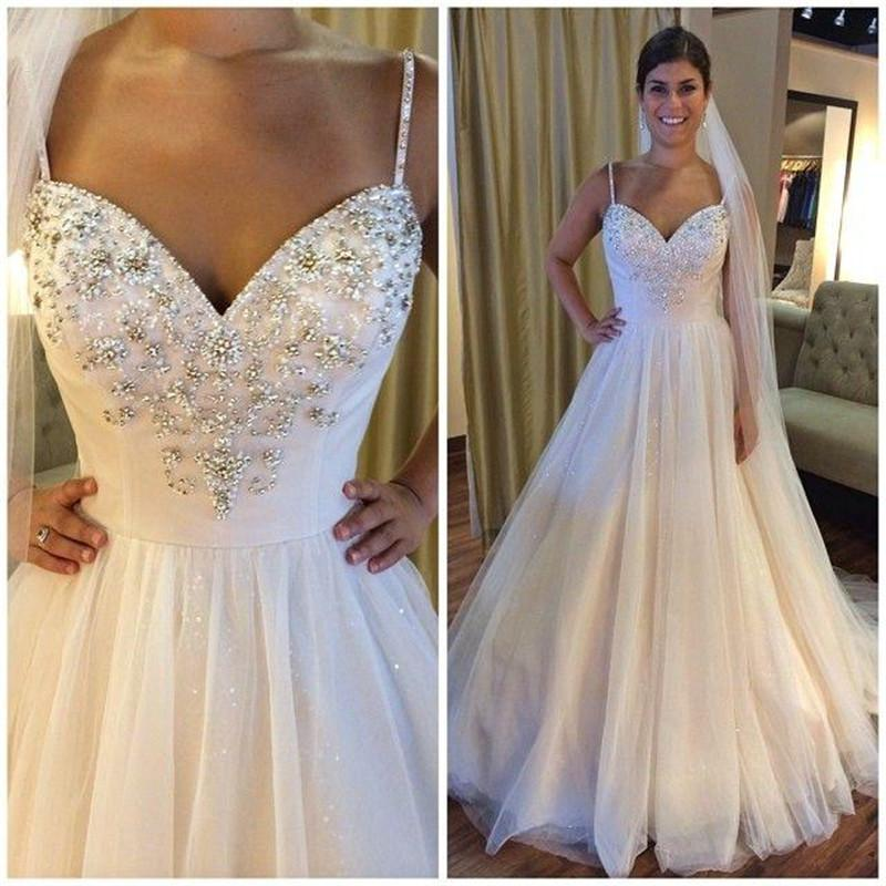 Boho Wedding Dresses 2015 A Line Sweetheart Crystal Beaded Sequins ...