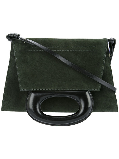 Lemaire - two-way folded tote - women - Suede - One Size, Green, Suede