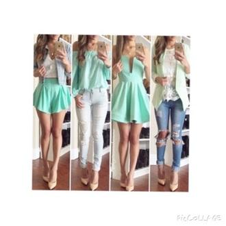 dress mint white
