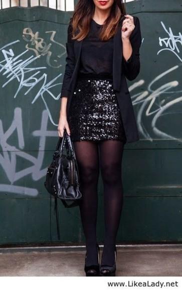 jacket black skirt sequin skirt