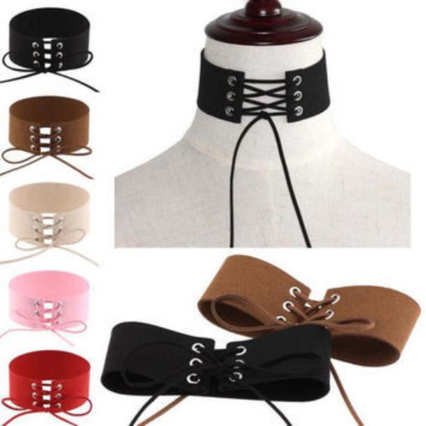 a16b3d1d3b2 jewels black tie up choker necklace jewelry black choker necklace lace up  lace up choker corset