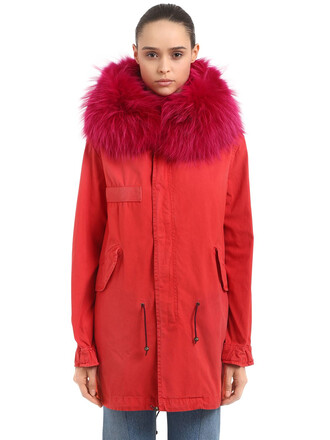 parka fur midi cotton red coat