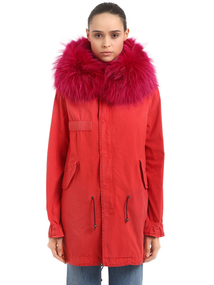 MR & MRS ITALY Midi Saline Cotton Canvas Parka W/ Fur in red