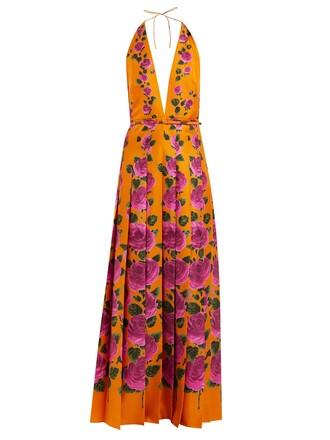 gown rose print silk orange dress