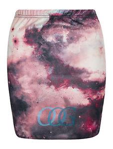 Womens ladies galaxy print stretch bodycon elasticated mini party skirt uk 8 12