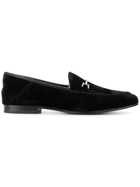 Sam Edelman women loafers leather black velvet shoes