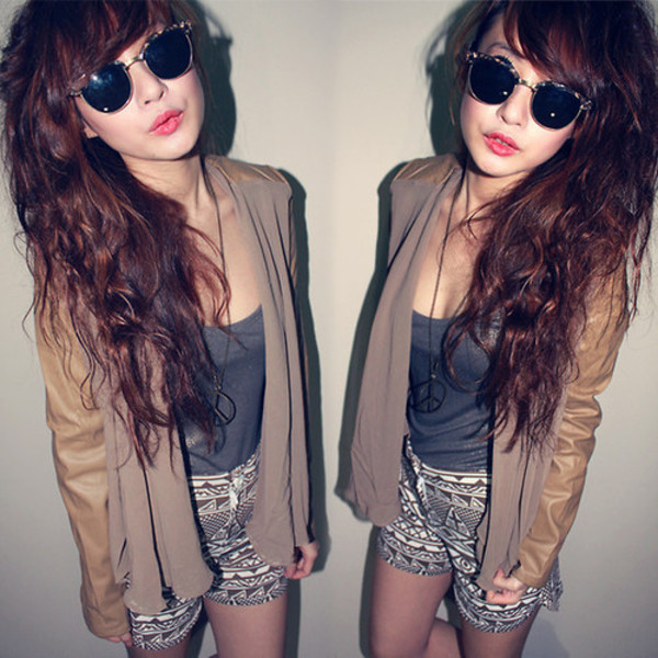 jacket hipster hipster tribal pattern shorts blazer crop tops hipster sunglasses