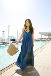 hautepinkpretty,blogger,dress,jewels,bag,maxi dress,blue dress,woven bag,summer outfits