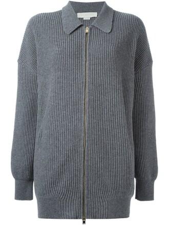 cardigan zip women wool grey sweater