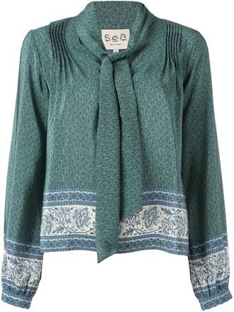 blouse bow women silk green top