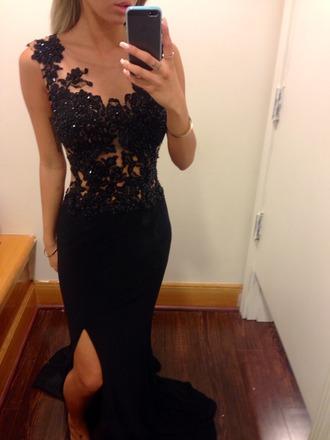 dress prom dress black prom dress little black dress glamour chique detail