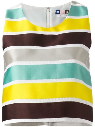 top striped top cropped yellow orange