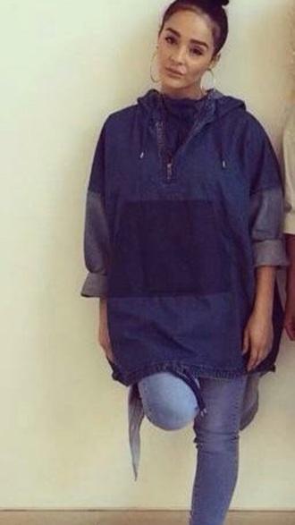 jacket blue jeans veste sweatshirt kawaii menteau cardigan style coat