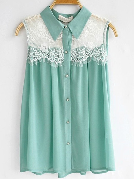 d78f38bb7 shirt teal button up sleeveless blouse blue cute hipster indie lace pastel  lace shirt mint sleeveless