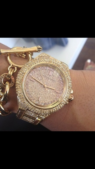 jewels watch michael kors gold pink crystal