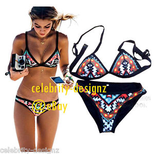sw61 Celebrity Fashion Trendy Tribal Print Padded Triangle Bikini Swimwear